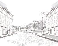 Серия эскизов красивых старых видов на город иллюстрация вектора