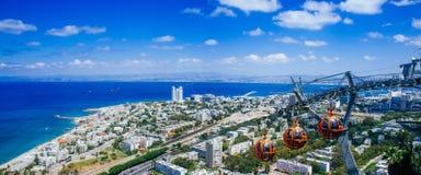 Серия Holyland - панорама фуникулера Стеллы Maris стоковые фотографии rf
