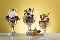 Серия sundae плодоовощ для карточки меню Стоковое фото RF