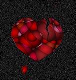 Серое и сломленное красное сердце Стоковое Изображение