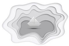 Серое озеро отрезка бумаги и корабль бумаги изолированный на белой предпосылке также вектор иллюстрации притяжки corel Стоковое Фото