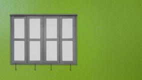 Серое окно на зеленых стенах Стоковое фото RF