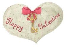 Серое сердце с смычком, ключом и надписью Стоковая Фотография RF