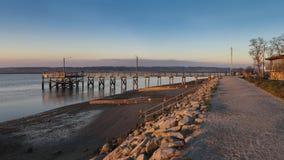 Серповидная пристань пляжа Стоковая Фотография RF