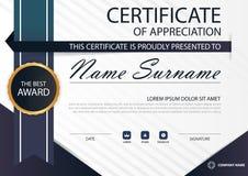 Сертификат голубой элегантности горизонтальный с иллюстрацией вектора, белый шаблон сертификата рамки с чистой и современной карт бесплатная иллюстрация