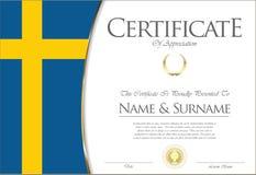 Сертификат или дизайн диплома ретро иллюстрация штока