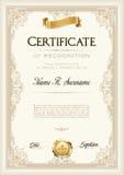 Сертификат рамки достижения винтажной с лентой золота Портрет Стоковое Фото