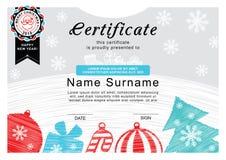 Сертификат рождества Санта на значке, рождественской елке и украшении Простая притяжка рождество предпосылки веселое Стоковые Фото