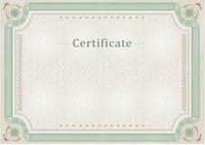 сертификат Служебный документ Официальная граница Стоковые Изображения RF