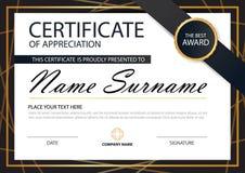 Сертификат черной элегантности золота горизонтальный с иллюстрацией вектора, белым шаблоном сертификата рамки с чистым и современ иллюстрация штока