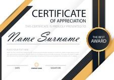 Сертификат элегантности золота горизонтальный с иллюстрацией вектора, белым шаблоном сертификата рамки с чистой и современной кар иллюстрация штока