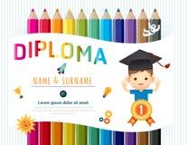 Сертификат ягнится диплом, план шаблона детского сада иллюстрация вектора