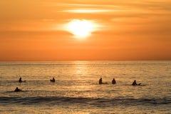 Серферы ждать в воде для следующей волны Заход солнца на пляже Unstad Стоковое фото RF