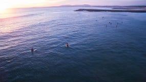 Серферы на волнах в вечере на виде с воздуха захода солнца Стоковая Фотография