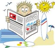 серфер газеты шаржа бесплатная иллюстрация
