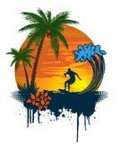 серфер захода солнца силуэта ладони тропический Стоковые Фото