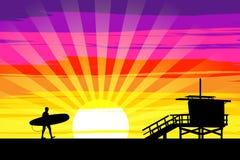 Серфер идя в заход солнца на пляже Венеции, Лос-Анджелесе, Cal иллюстрация вектора