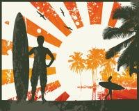 серфер лета пляжа иллюстрация штока