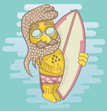 Серфер при солнечные очки бороды нося держа surfboard и s иллюстрация вектора