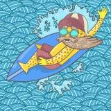 Серфер с бородой и солнечными очками плавает на серфинг w иллюстрация вектора
