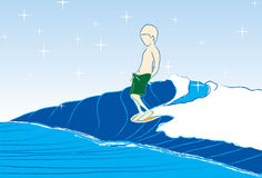 Серфинг мальчика Стоковая Фотография RF