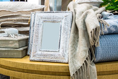 Серые деревянные рамки фото Стоковые Фотографии RF