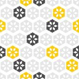 Серые желтые снежинки на белизне Стоковое Изображение RF