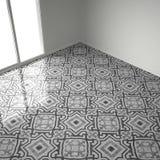 Серые и белые мраморные плитки пола в пустой комнате с большим окном, иллюстрация штока