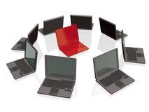 серые компьтер-книжки красные стоковое изображение