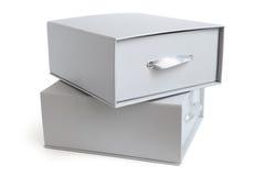 Серые коробки стоковые фото