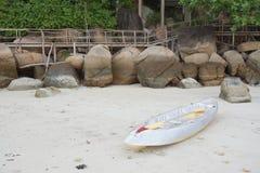 Серые парки каное на пляже Стоковая Фотография RF