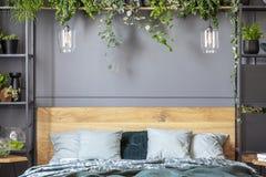 Серые подушки на кровати с деревянным изголовьем в wi спальни внутренних стоковое фото rf