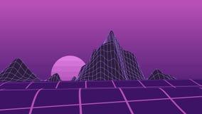 Серые полигональные горы и черная предпосылка неба для presentati сток-видео