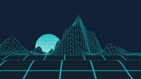 Серые полигональные горы и черная предпосылка неба для presentati видеоматериал