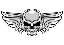 Серые череп и крыла Стоковые Изображения