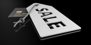 Серые ярлыки цены с помечать буквами изолированную черноту, иллюстрацию 3d стоковая фотография rf