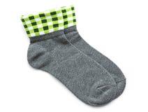 Серые striped носки изолированные на белизне Стоковое Изображение
