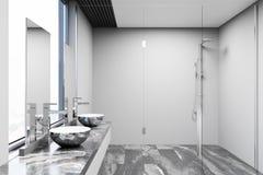 Серый и белый интерьер ванной комнаты, ливень Стоковое Фото
