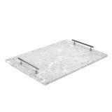 Серый и белый, элегантный мраморный поднос сервировки с ручками Стоковое Изображение