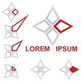 Серый и красный комплект дизайна значка дела стоковая фотография