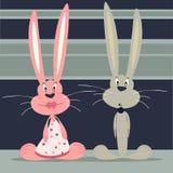 Серый и розовый зайчик Стоковое Фото