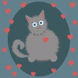 Серый котенок на день валентинки Стоковое Изображение