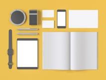 Серый клеймя модель-макет Шаблон установленный на желтую предпосылку Стоковые Фотографии RF
