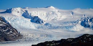 Серый ледниковый лед как увидено от Paso Джона Gardner на походе Torres del Paine в Патагонии/Чили стоковые изображения rf