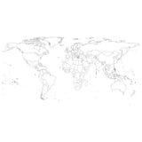 Серый политический вектор карты мира Стоковое Изображение RF