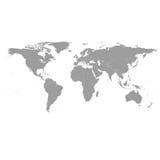Серый политический вектор карты мира Стоковое фото RF
