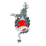 Серый дракон с кругом Стоковые Фотографии RF