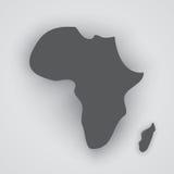 Серый силуэт Африки и Мадагаскара с тенями Стоковая Фотография