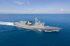 Серый современный взгляд вертолета военного корабля Стоковое Фото