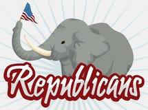 Серый слон держа вымпел в плакате шаржа, иллюстрации вектора Стоковые Изображения RF